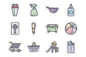 Various plastic products color vector doodle simple icon set
