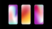 Set of Three Colorful Gradient Backgrounds on Smartphone