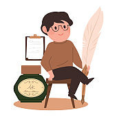 A male writer is sitting with a large quill.