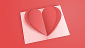 3D origami pink heart paper art  with greeting card background. Love concept for valentine's day. Banner template. vector art illustration.
