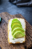 avocado grill sandwich fried vegetarian snack on the table for healthy meal snack outdoor top view copy space for text food background image