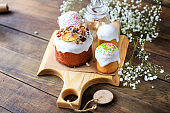 Easter cake and eggs festive table setting sweet treat holiday on the table meal snack outdoor top view copy space  food background rustic dessert