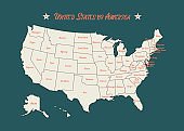 Poster map of United States of America with state names. Green, white and orange print map of USA for t-shirt, poster or geographic themes. USA map with states. Vector Illustration eps 10