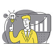 Idea. Start up. Database analysis. Digital Solutions Business Analytics, Planning. Business Marketing illustrations. Scenes with men taking part in business activities. Modern Flat Trendy vector style
