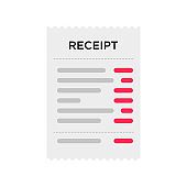 Receipt document icon in flat style isolated on white. Digital vector bill sale fee.  Vector receipt order eps 10