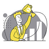 The happy man triumphantly raised his hand with a gold cup. First place. Success, recognition. Business strategy. Successful well done work. Completed task. Modern flat illustration.