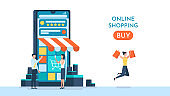 Concept of online shopping on social media app. Online store via mobile phone set, 2D web banner of online shopping. Smartphone with shopping bag, chat message, delivery, 24 hours, and like icon.