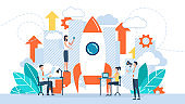 Startup new business project. Development process. Innovation product, creative idea. Business concept of vector illustration people are building a spaceship rocket. Cohesive teamwork in the startup
