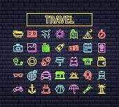 Set travel neon icon for web design. Business icon. Vector stock illustration.