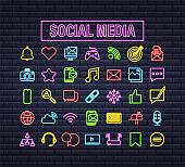 Set Social media neon icon. Telephone icon. Digital communication. Chat bubble. Vector stock illustration.