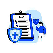 Medical Insurance icon concept vector illustration. A man filling medical document form. can use for web, homepage, mobile apps, web banner. character cartoon Illustration flat style.