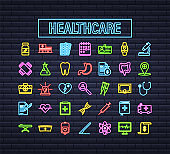 Infographic with healthcare neon icon for medical design. Medical insurance. Vector stock illustration.