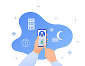 Muslim doctor and telemedicine concept. Vector flat people character illustration. Human hand call medic in head scarf on smartphone screen. Islamic crescent sign. Design for health care and medicine.