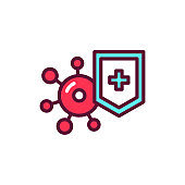 Virus protection line icon. Isolated vector element.