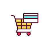 Safe shopping line icon. Isolated vector element.