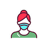 Masked woman color line icon. Isolated vector element.