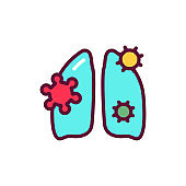 Infectious disease lungs line icon. Isolated vector element.