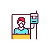 Hospital ward line icon. Isolated vector element.