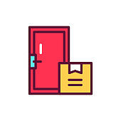 Home delivery line icon. Isolated vector element.