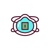 Breathing medical respiratory mask color line icon. Isolated vector element.