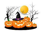 Halloween pumpkins with hat.