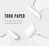 Rip paper corner set vector realistic illustration