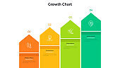 Ascending chart with pointer-like elements placed in horizontal row. Concept of 4 steps of business growth, development, progress. Simple infographic design template. Modern flat vector illustration.