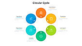 Cyclic diagram or scheme with 6 colorful circular elements. Concept of six stages of business cycle. Modern flat infographic design template. Simple vector illustration for presentation, banner.