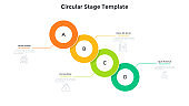Process chart with four overlaid colorful round elements placed in diagonal row. Concept of 4 steps of business development. Flat infographic design template. Vector illustration for progress bar.