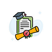 Dual degree vector filled outline icon style illustration. EPS 10 file