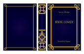 Set of book cover and spine design. Ornament frames of lines and corners. Royal Gold and dark blue style design. Border to be printed on covers and pages of books.