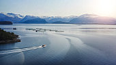Aerial drone view: the sea and fjords of Norway