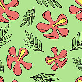 set of green tropical green leaves and red hibiscus flowers, vector seamless pattern of doodle elements