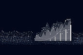 Virtual hologram of statistics, graph and chart with arrow up on dark background. Business development to success and growing growth concept in 2021.