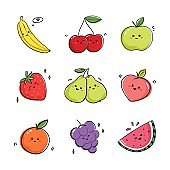 Collection of fruits expressing positive emotions. Set of drawings with fruits and berries in kawaii style.