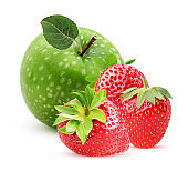 Green apple with leaf and strawberry