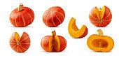 Set fresh red hokkaido pumpkin