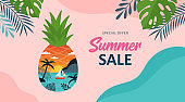 Summer background template for social media, banner or poster design. Tropical beach landscape with palm trees in pineapple creative concept.