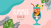 Summer background template for social media, banner or poster design. Tropical beach landscape with palm trees in cocktail glass creative concept.