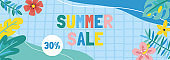 Summer anstract background. Template for social media banner, poster, greeting card or website design