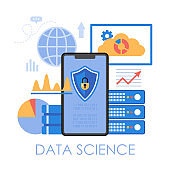 Data science concept. Modern vector illustration with data visualization graphs and charts.