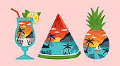 Tropical beach landscape with palm trees in pineapple, cocktail drink and watermelon. Tropical summer creative concept.
