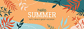 Summer abstract background. Template for social media banner, poster, greeting card or website design