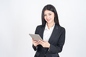 Beautiful asian business woman using smart phone computer , lifestyle business people concept.