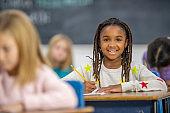 School girl in class