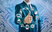 Businessman technology concept 5G digital panel with OK sign