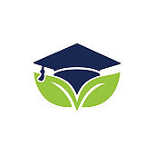 Nature student vector logo template.