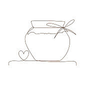 Preserved food, jar for jam, for honey, autumn and winter preservation. Simple line art glass canning jar with heart.