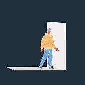Vector illustration of man are going to an open door on dark backround.