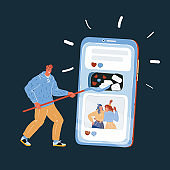 Vector illustration of man make posts and news in social networks, blogger and user concept. Giant big smartphone, active online life.
